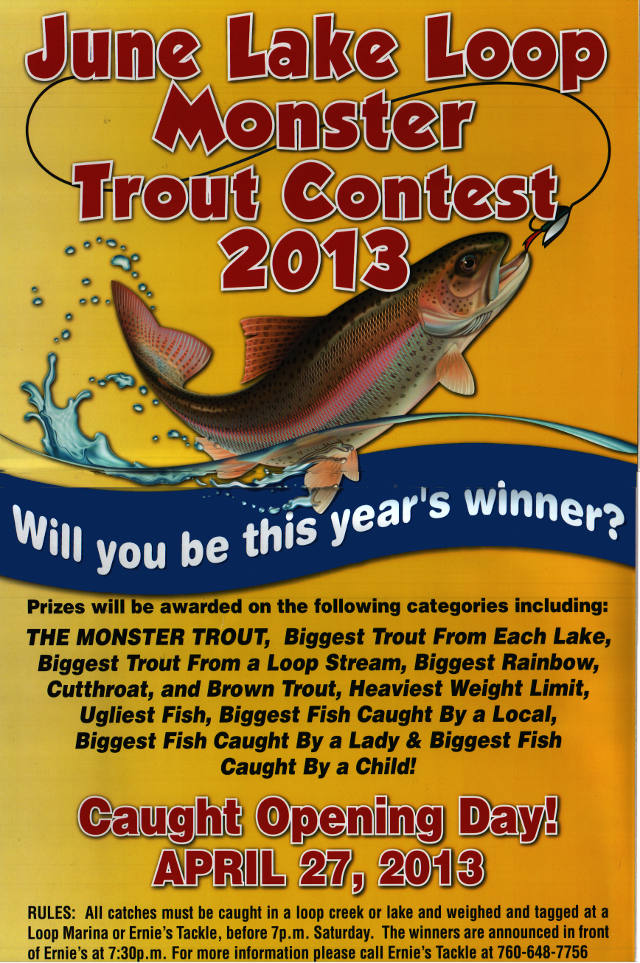 Monster Trout Contest, April 27,2013:  Catch a trout in the June Lake Loop, weigh and register it at any marina in the Loop or at Ernie's Tackle.  Prizes will be awarded in 14 categories, at 7:30pm in front of Ernie's.